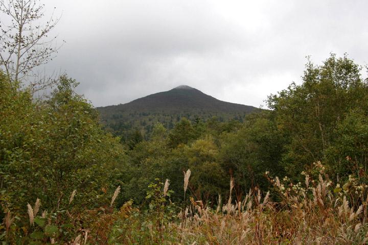 下山時は山頂がまた見えた